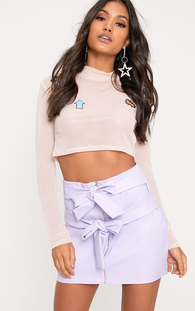 Danie Lilac Bow Tie Faux Leather Mini Skirt