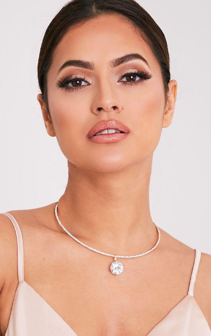 Trista Gold Diamante Drop Choker