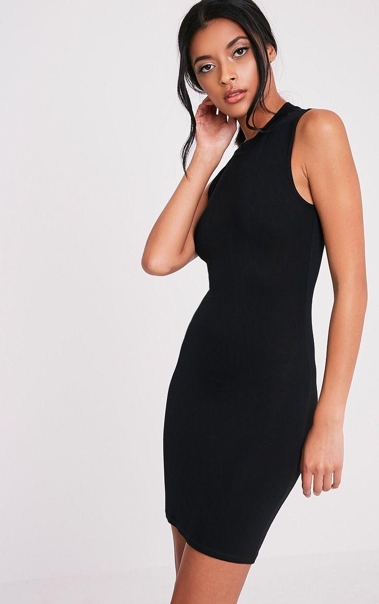 Rebecca robe moulante noire à col montant 4