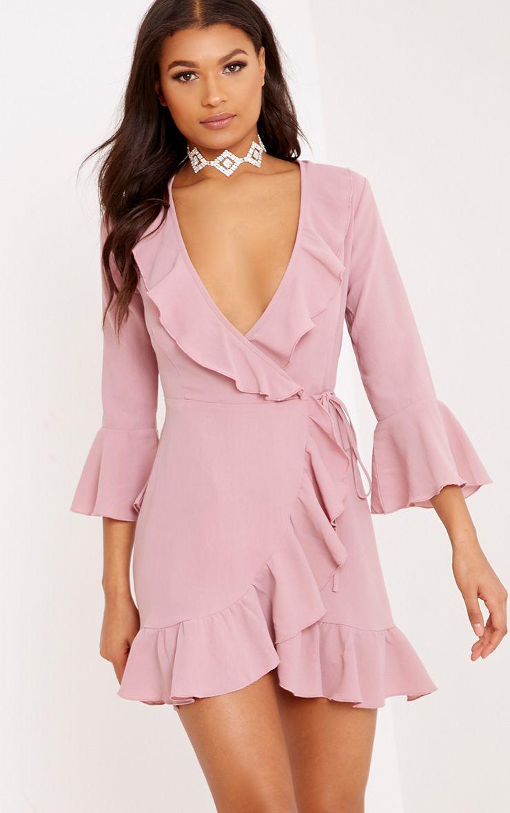 Ilisha robe cache-cœur à volants rose cendré