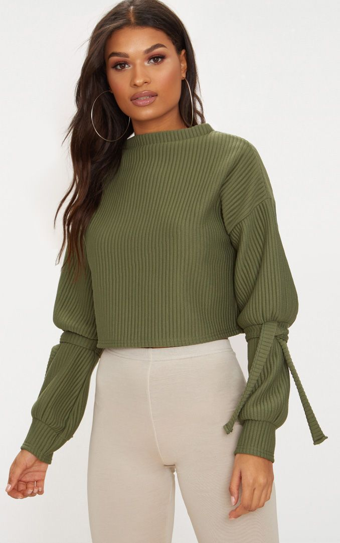 Khaki Rib Cuff Detail Sweater