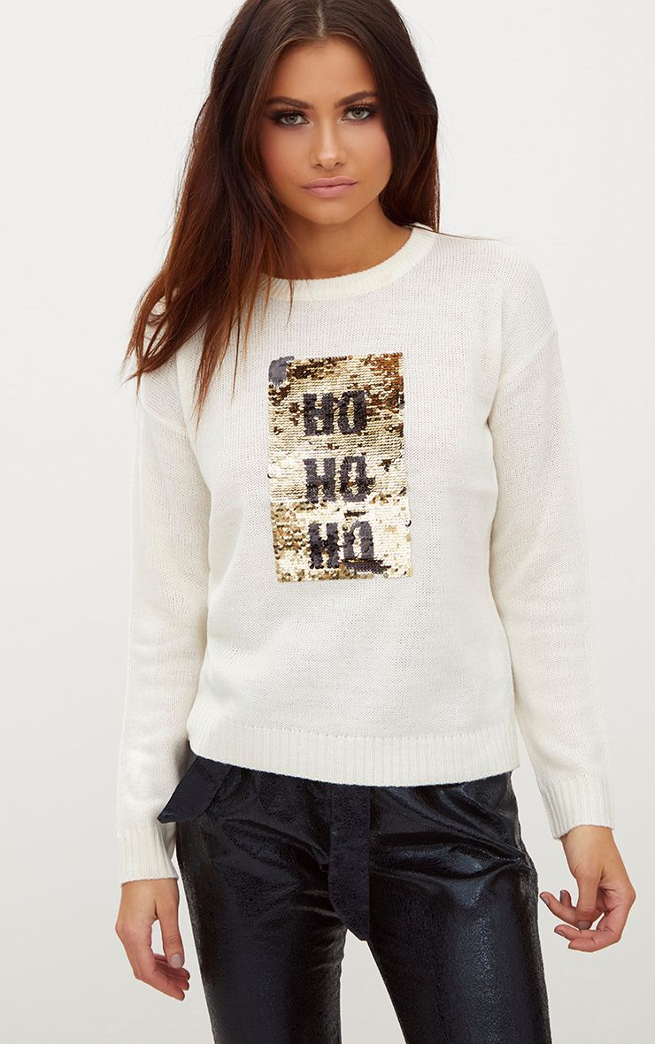 Cream Ho Ho Ho Reversible Sequin Jumper 1