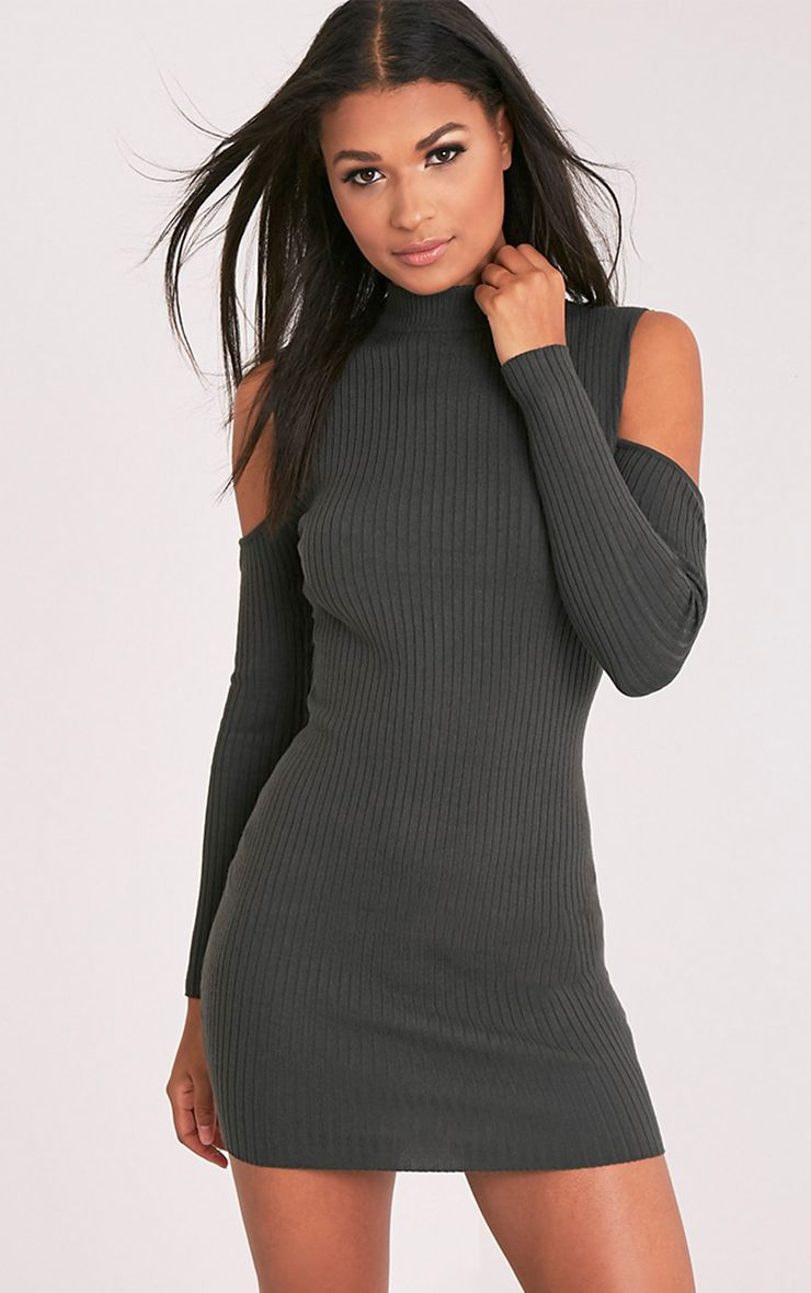 Ysabel Khaki Cold Shoulder Ribbed Knitted Mini Dress
