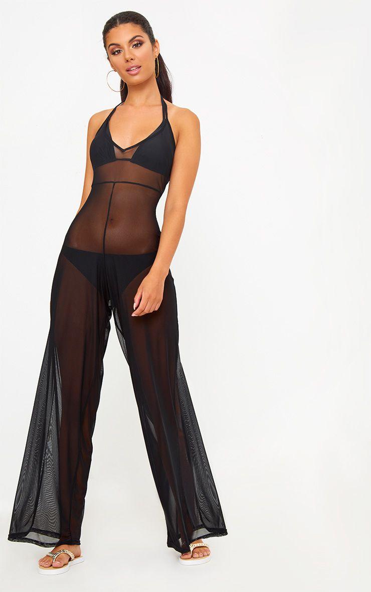 Black Mesh Ruched Jumpsuit