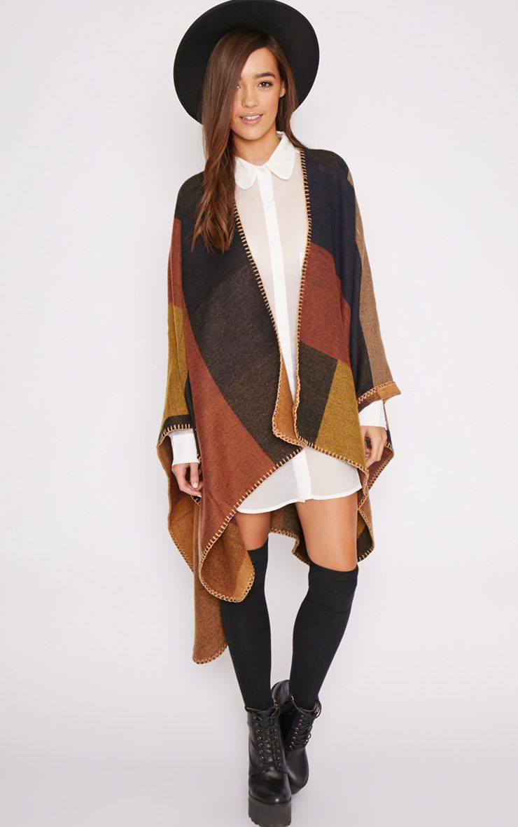 Lia Colour Block Poncho  1