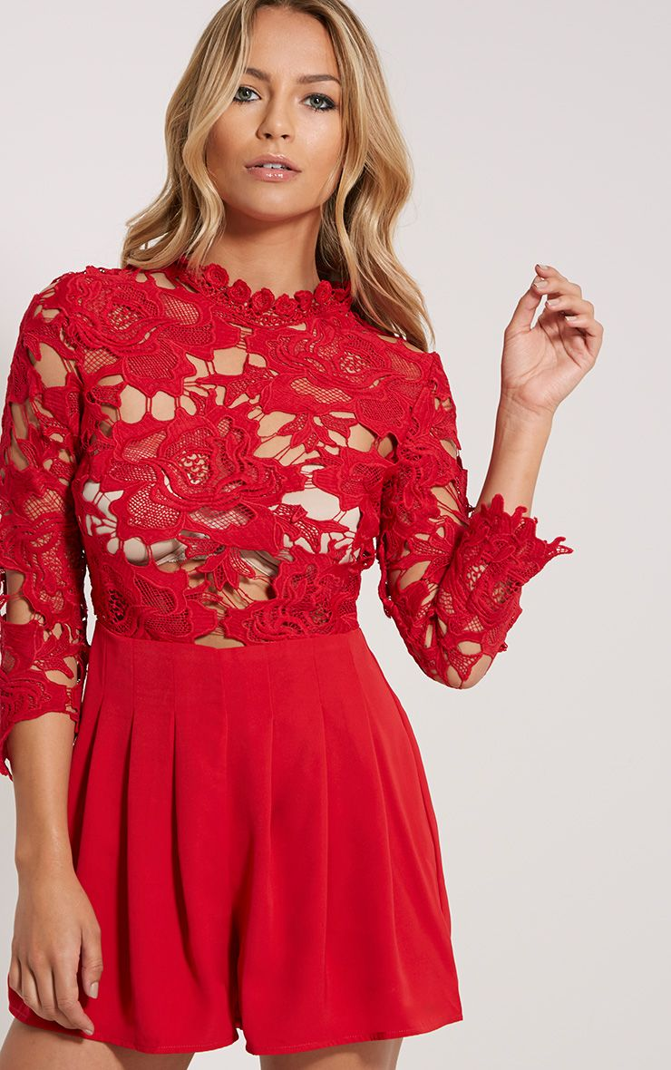 Elmira Red Lace Top Playsuit 1