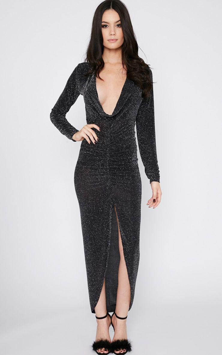 Kiera Black Glitter Ruched Maxi Dress-6 1