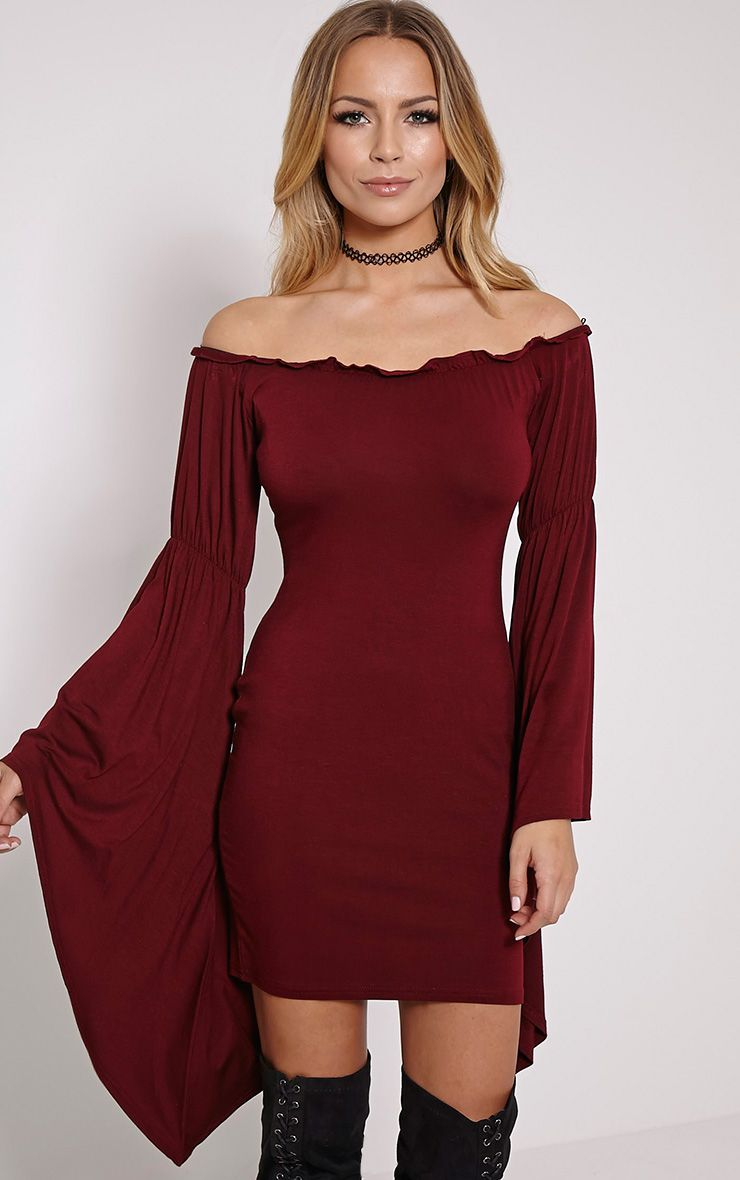 Calla Burgundy Extreme Flare Bardot Bodycon Dress 1