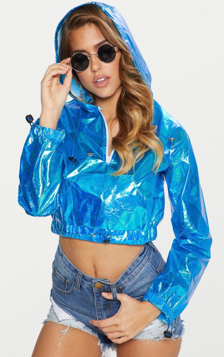 Blue Cropped Iridescent Pocket Detail Rain Mac