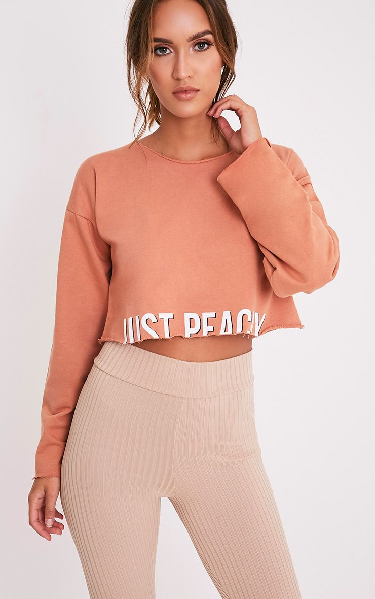 JUST PEACHY Deep Peach Slogan Cropped Sweatshirt