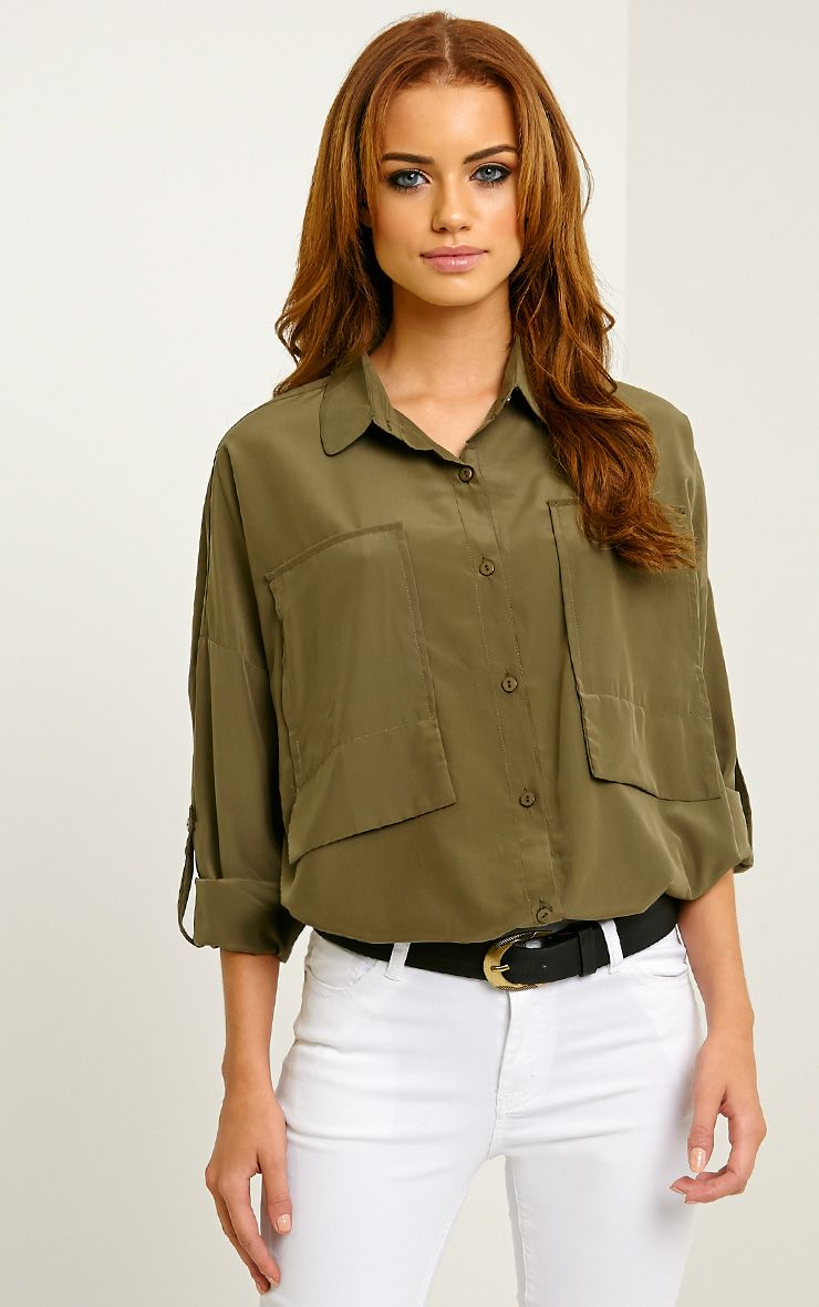 Birta Khaki Oversized Pocket Shirt 1