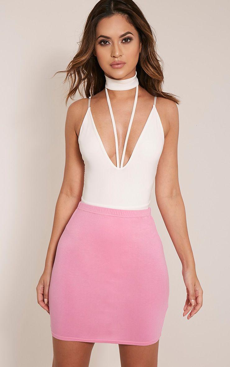 Basic Bubblegum Pink Jersey Mini Skirt 1