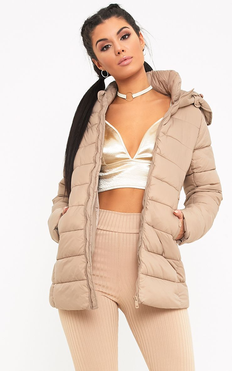 Alema Beige Puffer Hooded Coat