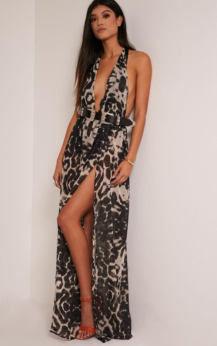 Alina Taupe Leopard Print Plunge Maxi Dress