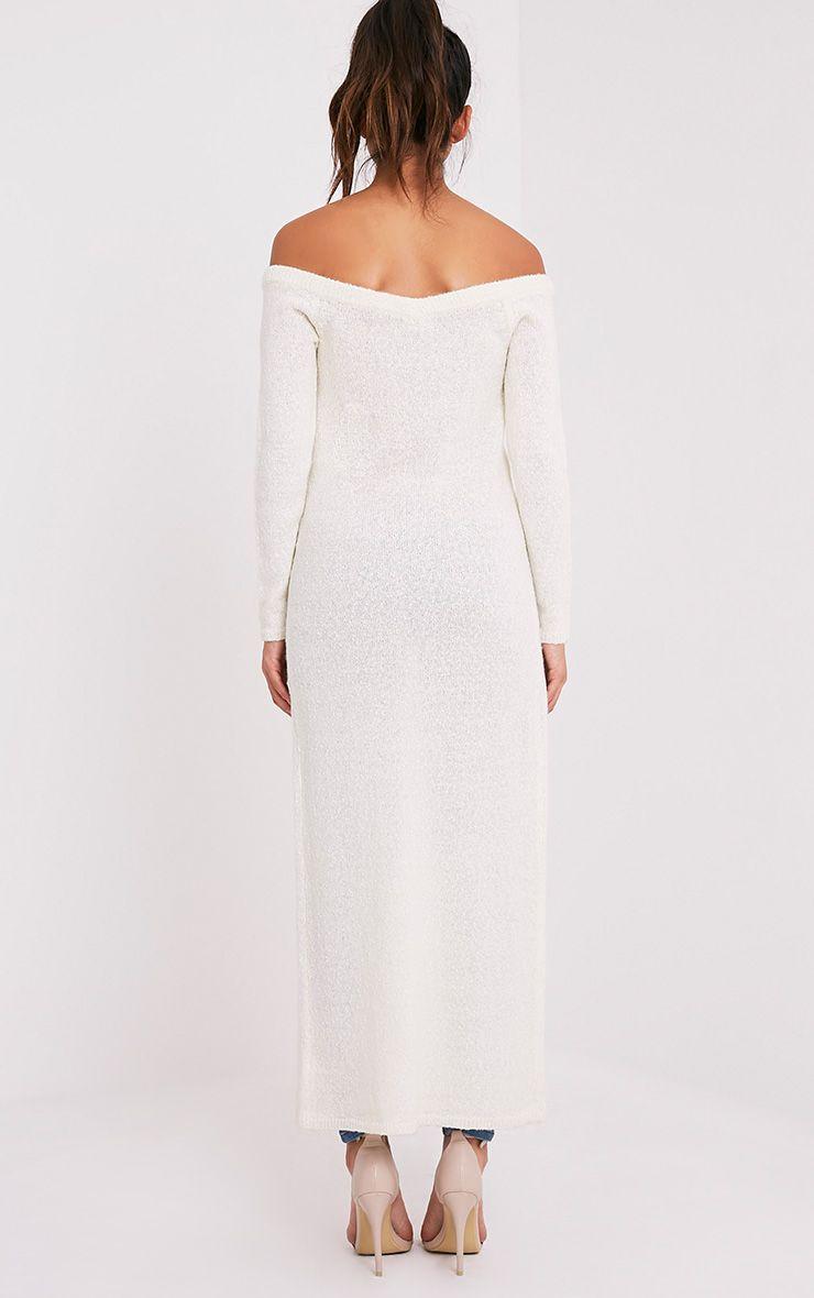 Dyanie robe pull fendu sur le devant crème 3