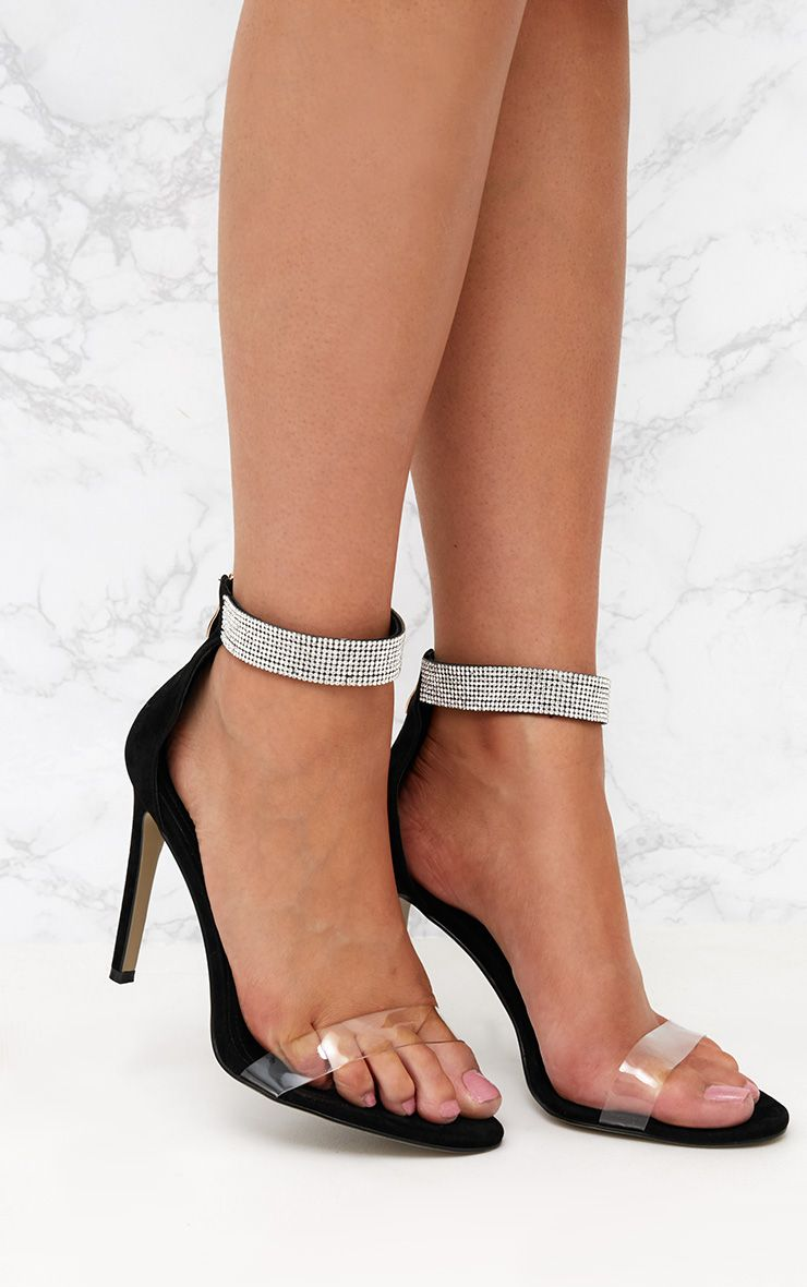 Black Faux Suede Diamante Strap Heeled Sandals