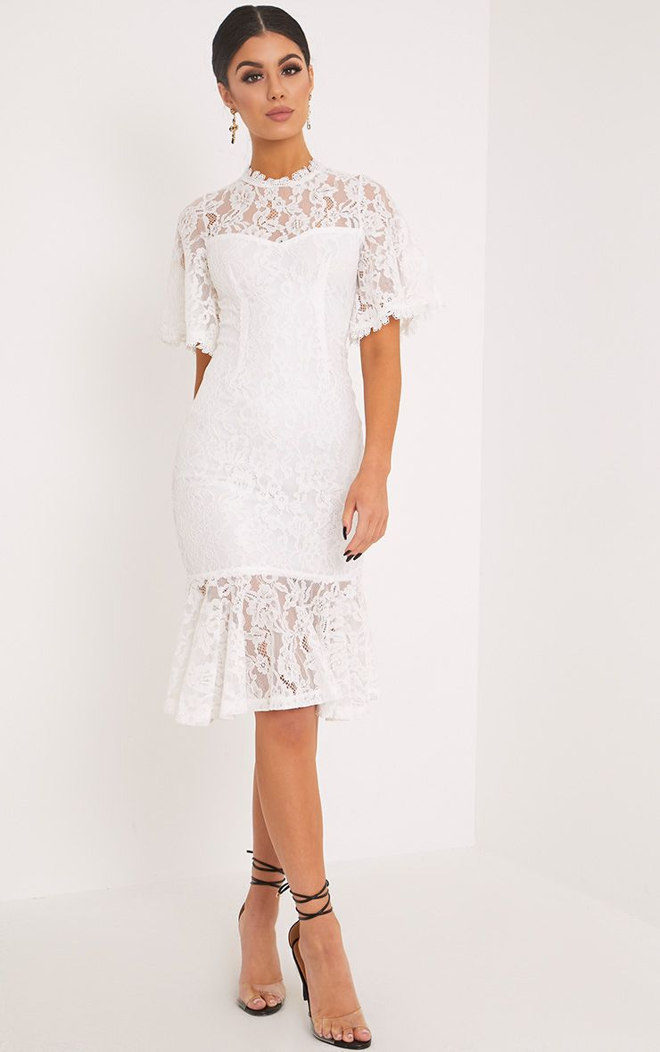 Zarina White Lace Fishtail Midi Dress