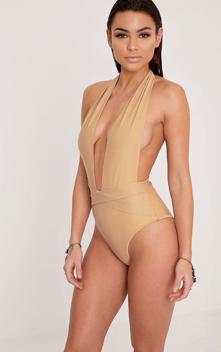 Bethanne Camel Wrap Around Front Swimsuit