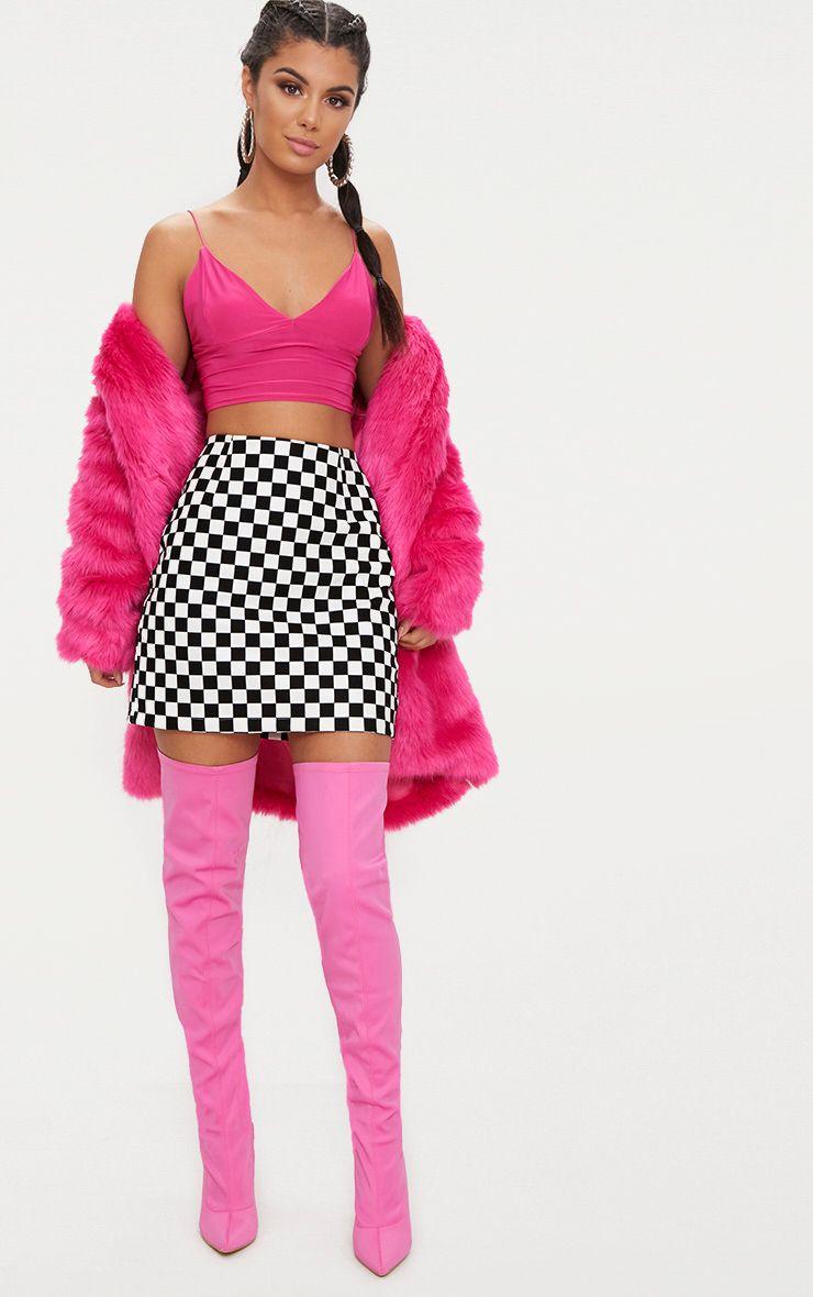 Monochrome Faux Leather Checkerboard Mini Skirt
