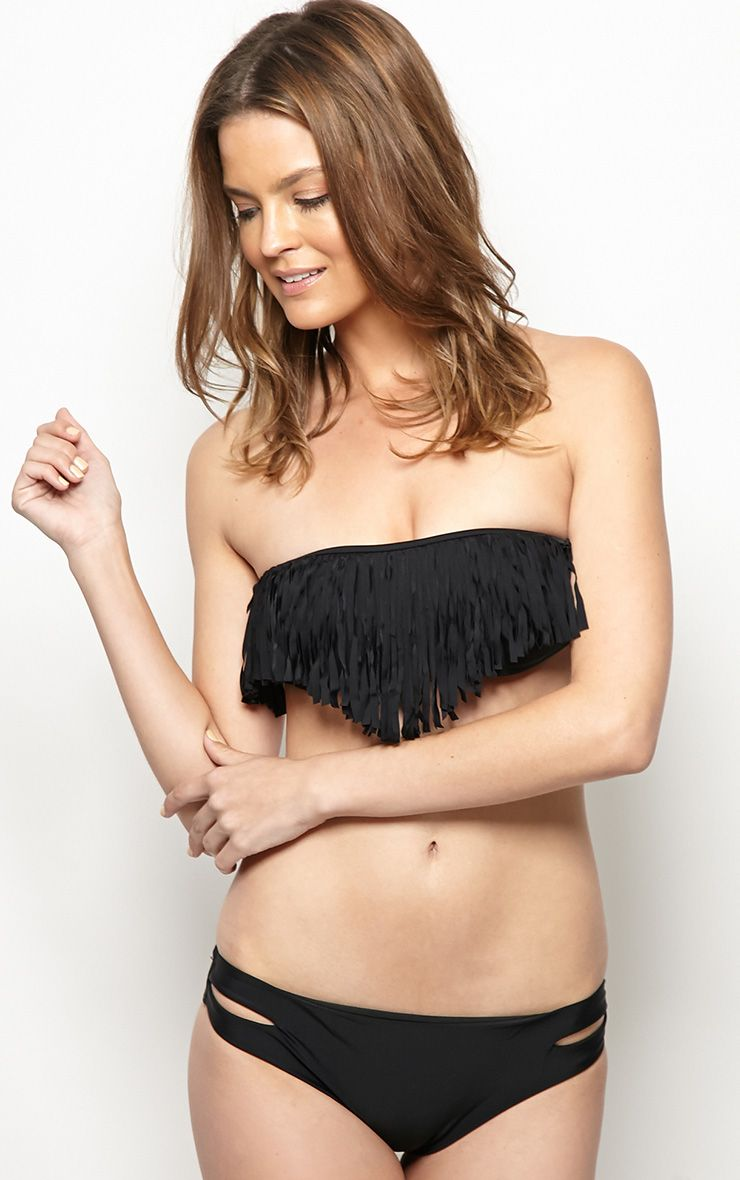 Mikayla Black Tassle Bikini With Cut Out Detail 1