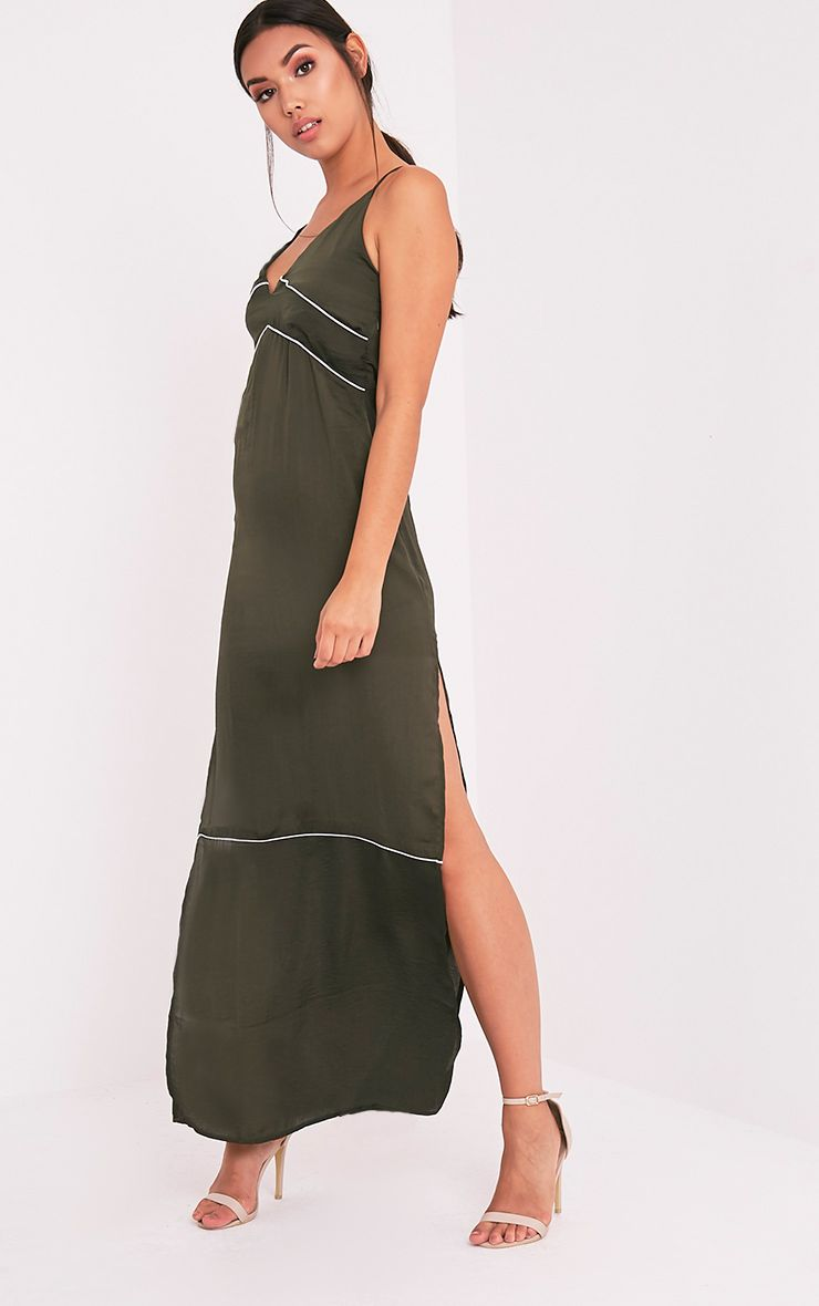 Learna Khaki Maxi Plunge Back Slip Dress