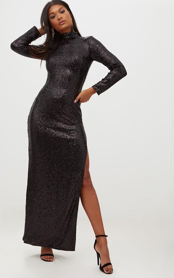 Sleeved maxi dress black
