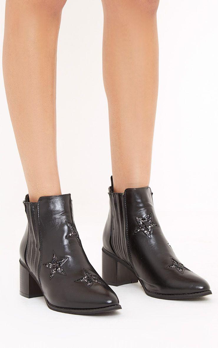 Kattia Black Star Cowboy Boots