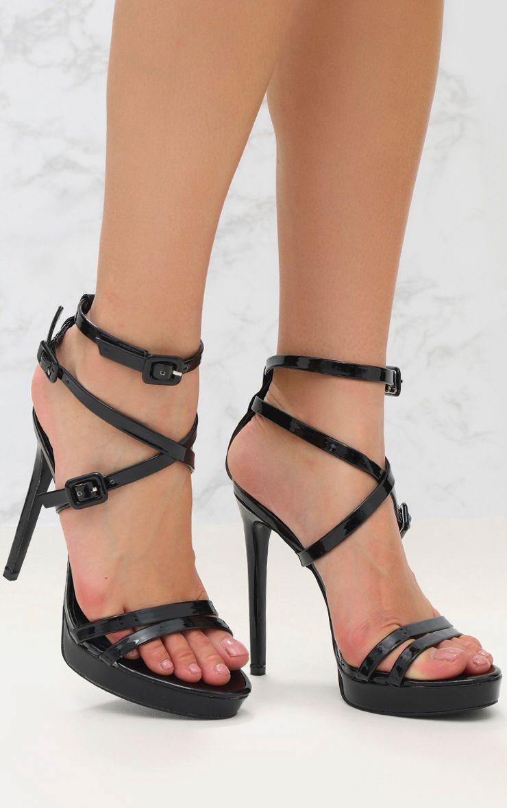 Black PU Multi Buckle Heeled Sandal