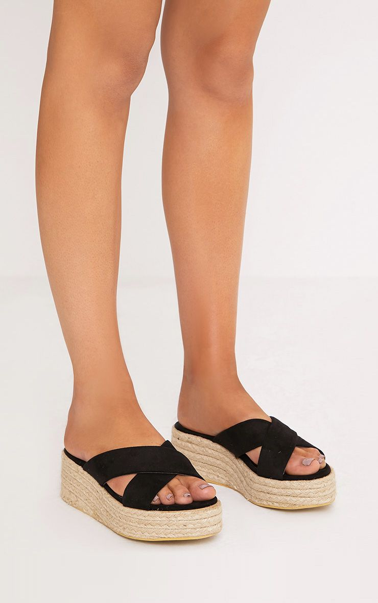 Liara Black Faux Suede Flatform Sliders