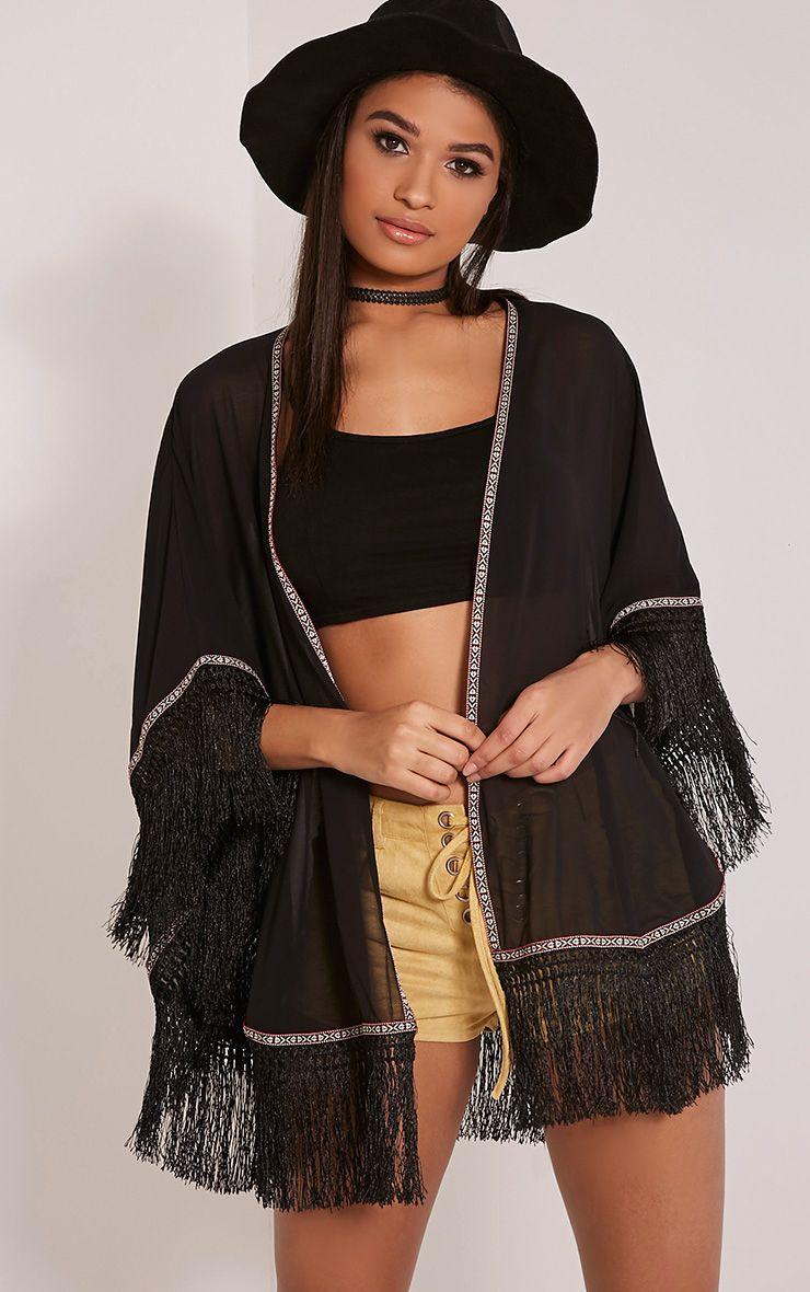 Enna Black Tassel Trim Kimono 1