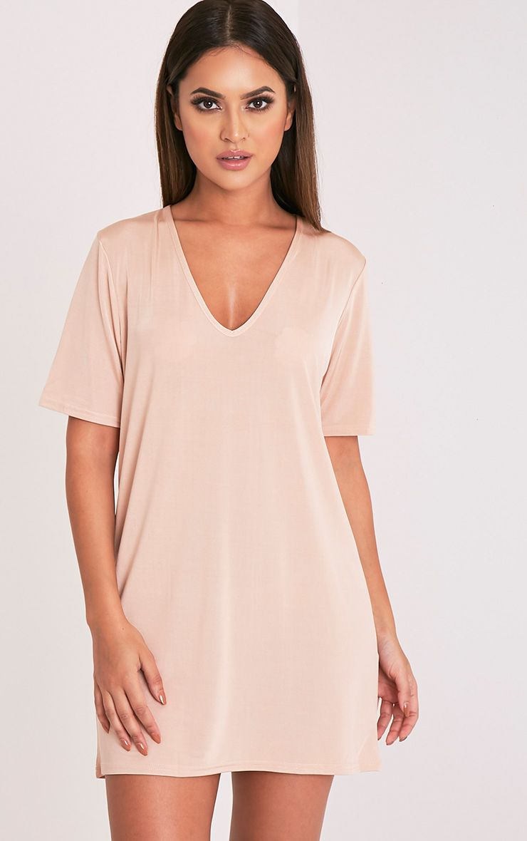 Nyla Nude Slinky V Neck T Shirt Dress