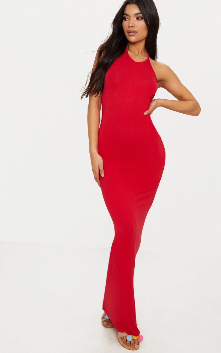 Red Basic Halterneck Maxi Dress