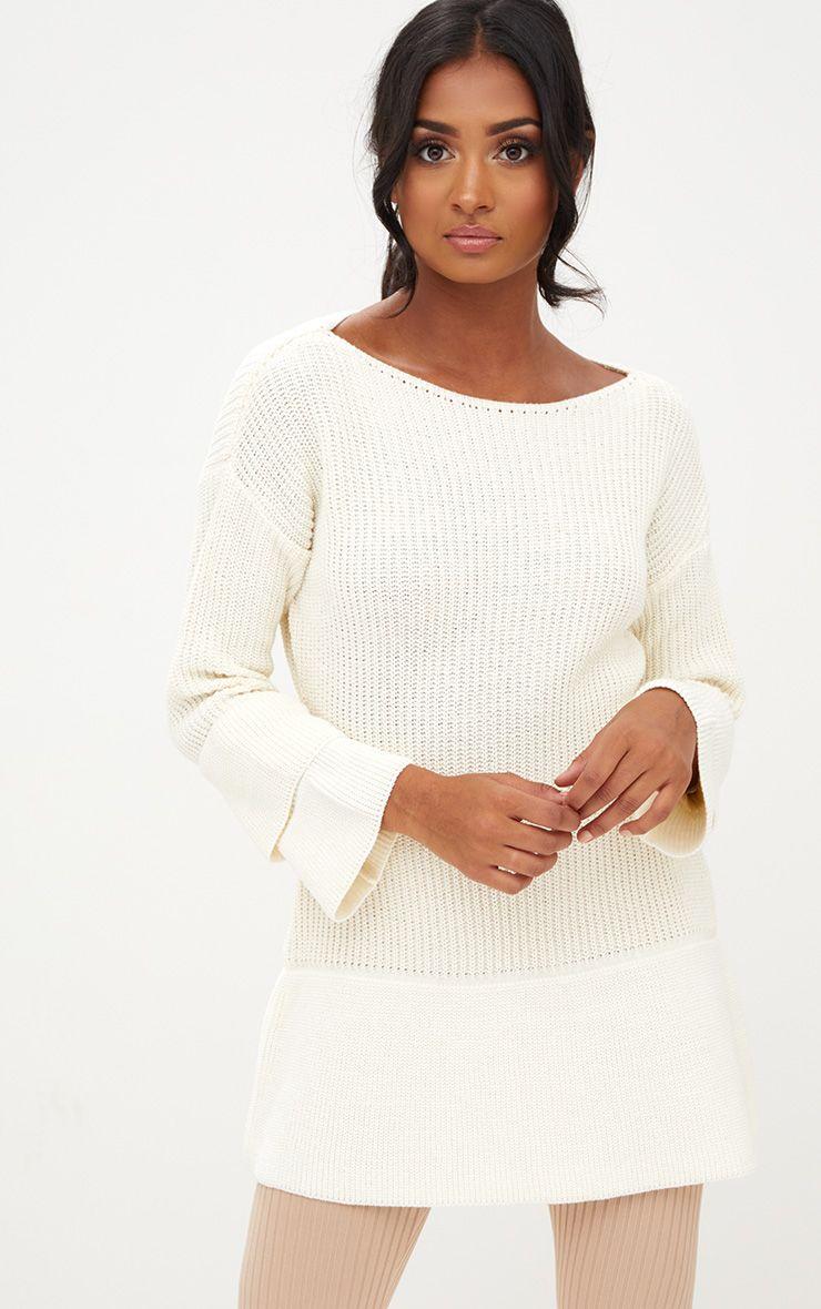 Cream Frill Sleeve Knitted Jumper