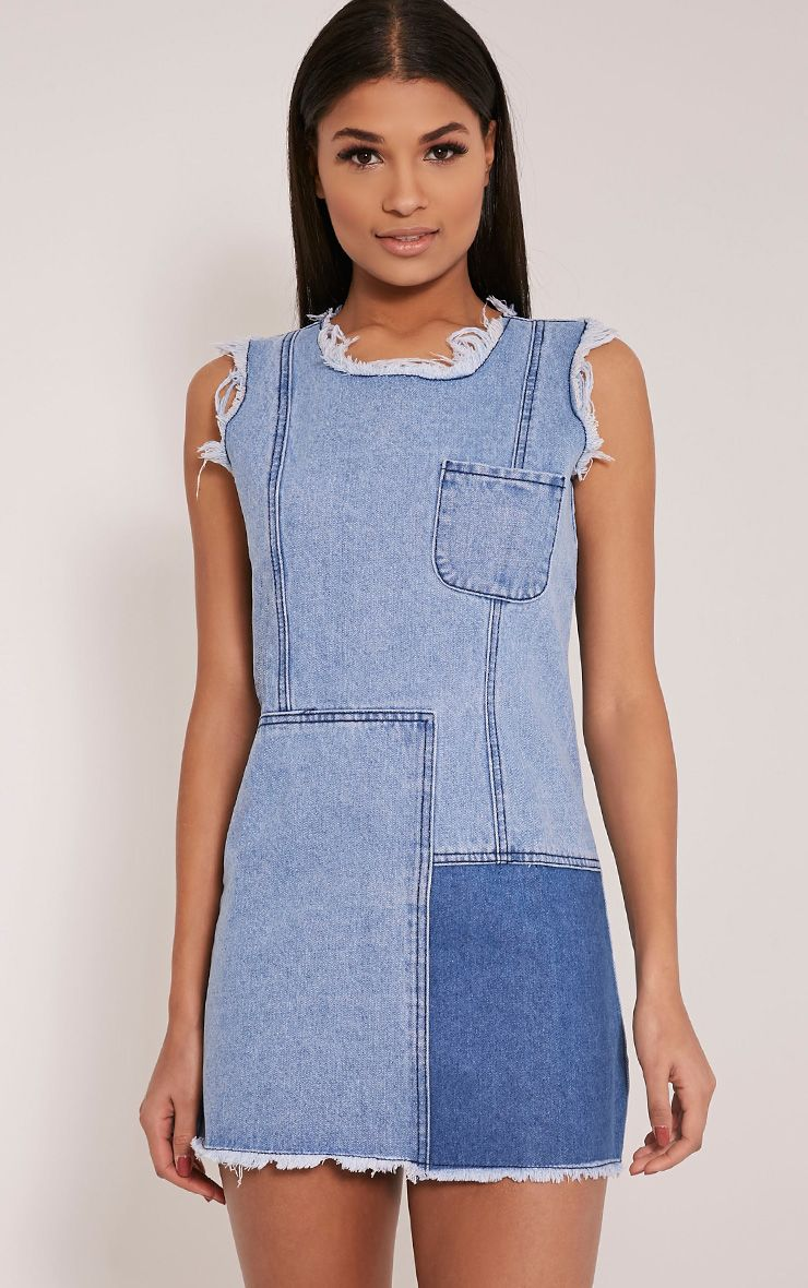 Naomie Blue Patchwork Denim Shift Dress 1