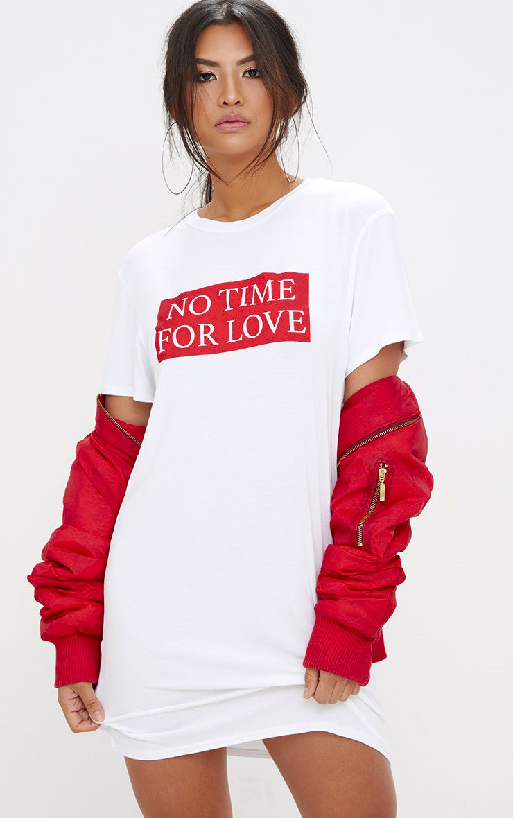 White No Time For Love T Shirt Dress
