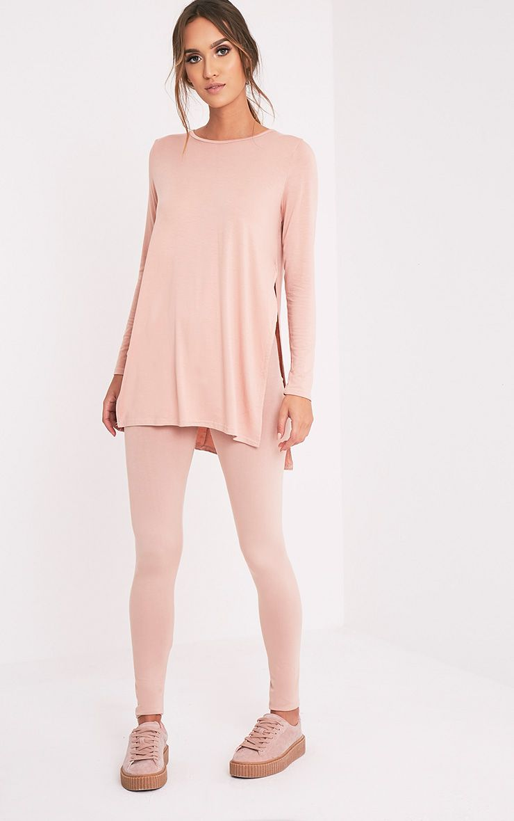 Basic Nude Longsleeve Side Split Top 1