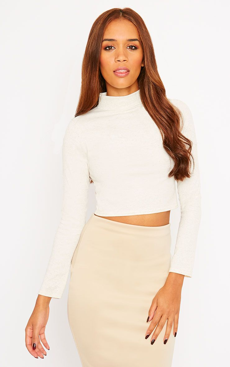 Basic Cream Ribbed High Neck Crop Top 1