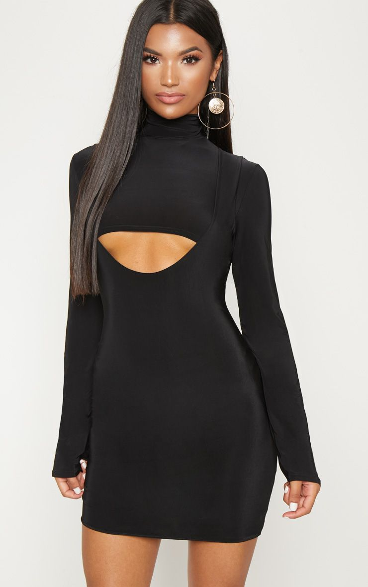 Black 2 In 1 Long Sleeve Under Boob Slinky Mini Dress