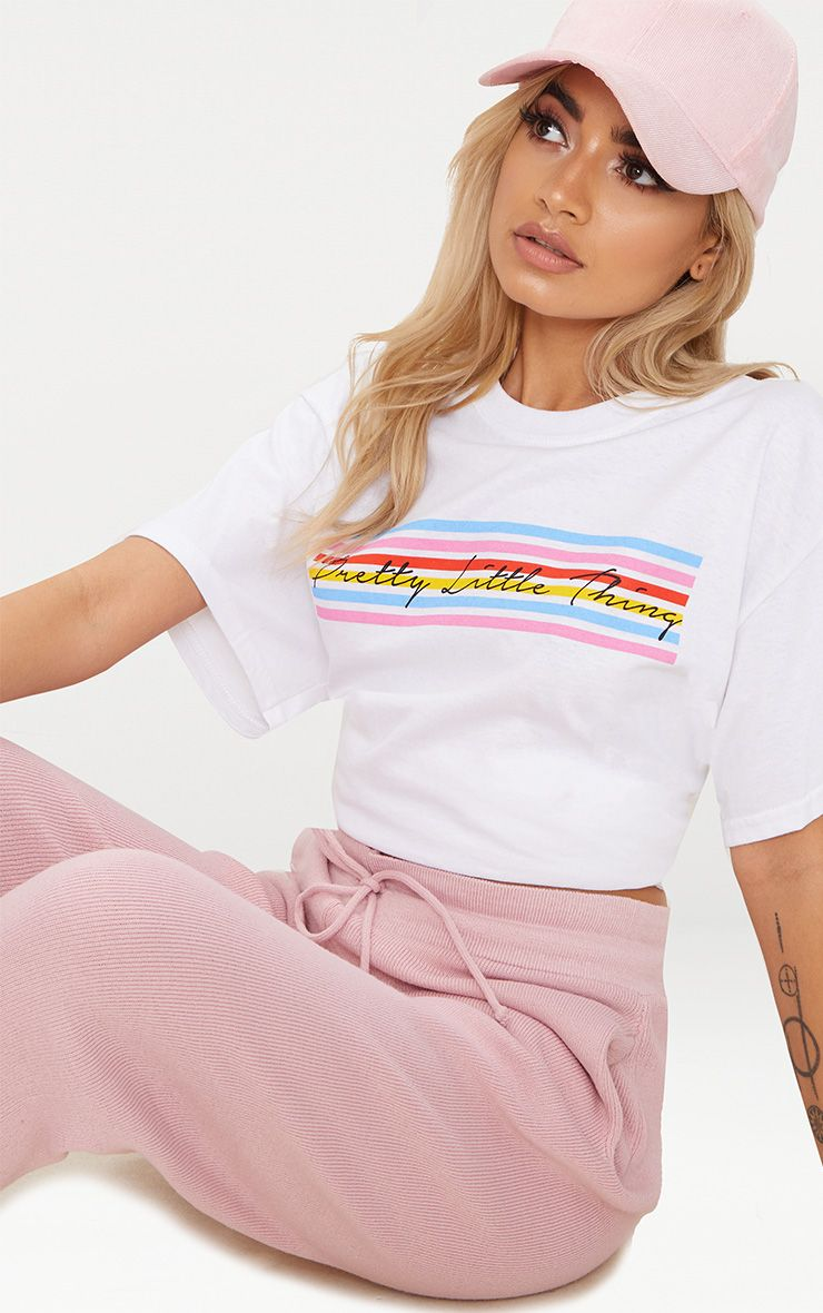 White Pretty Little Thing Rainbow Oversized T Shirt