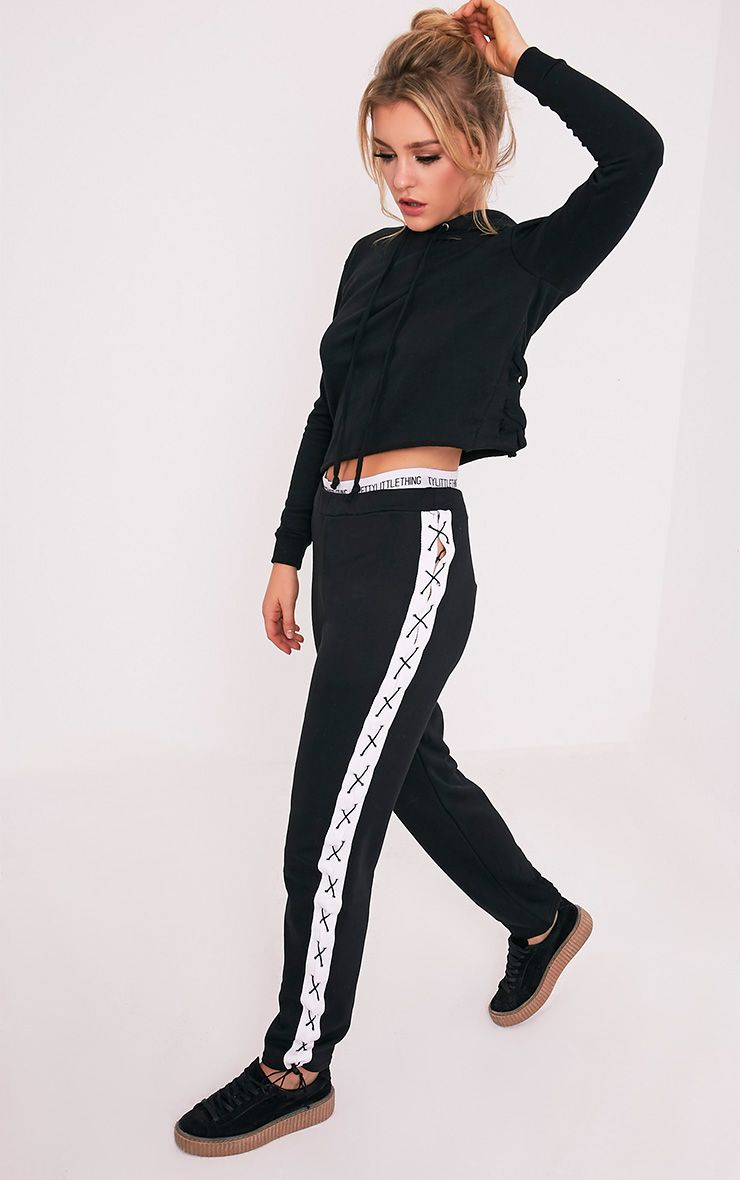 Klarissa Black Lace Up Side Joggers