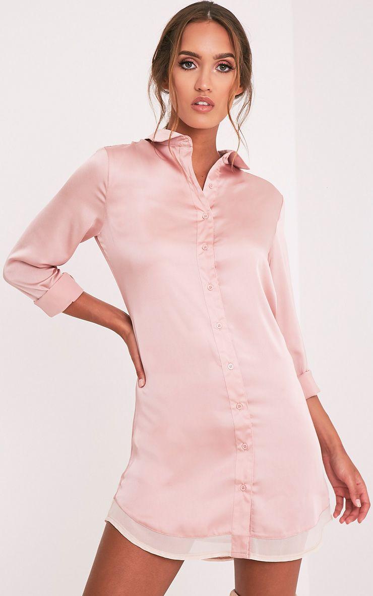 Leonia Mink Chiffon Detail Satin Shirt Dress 1