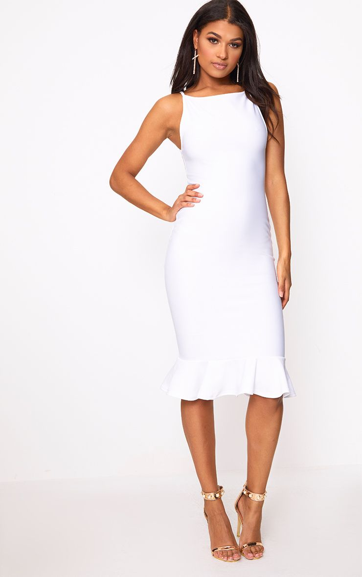 Freada White Square Neck Frill Hem Midi Dress
