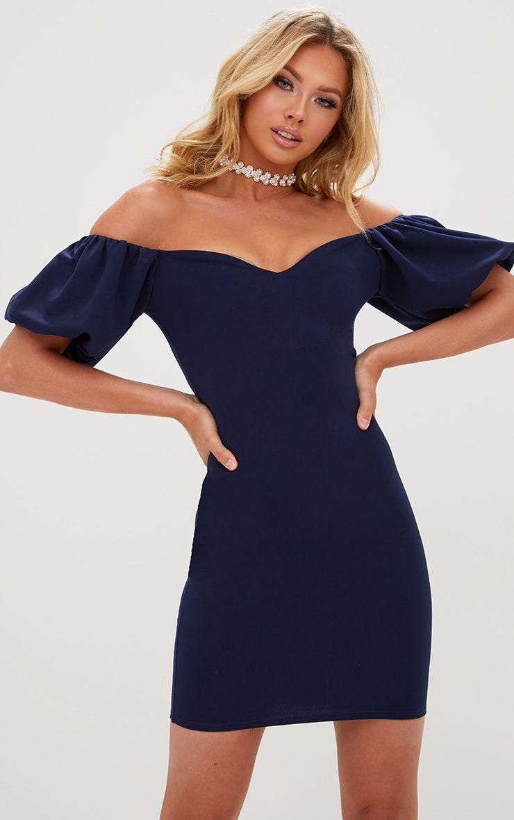 Navy Puff Shoulder Bardot Bodycon Dress