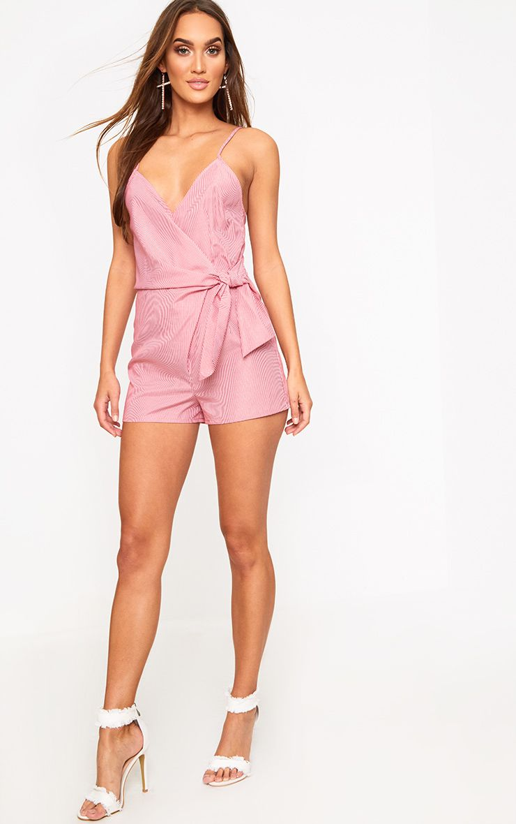 Red Stripe Wrap Front Playsuit