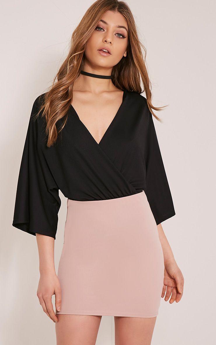 Kataleena Black Kimono Bodysuit 1