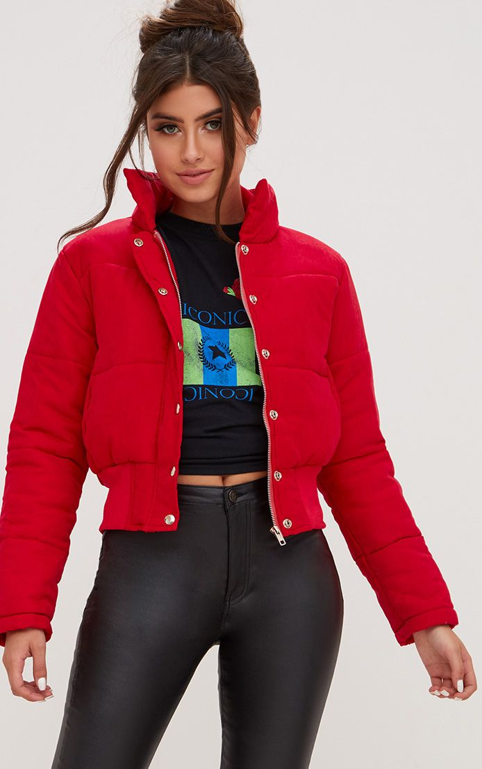 Red Peach Skin Cropped Puffer Jacket