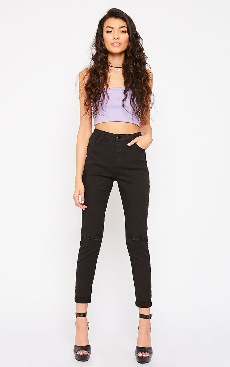 Avyanna Black High Rise Knee Rip Skinny Jeans 1