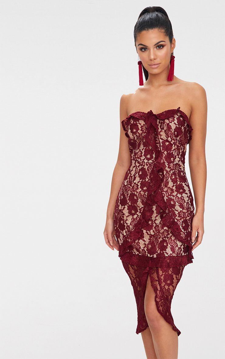Burgundy Lace Bandeau Frill Detail Midi Dress