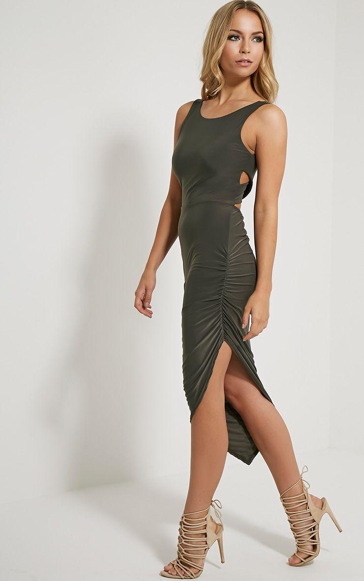 Carmen Khaki Cross Back Ruched Side Midi Dress 1