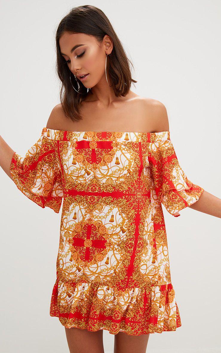 Orange Chain Print Bardot Double Frill Shift Dress